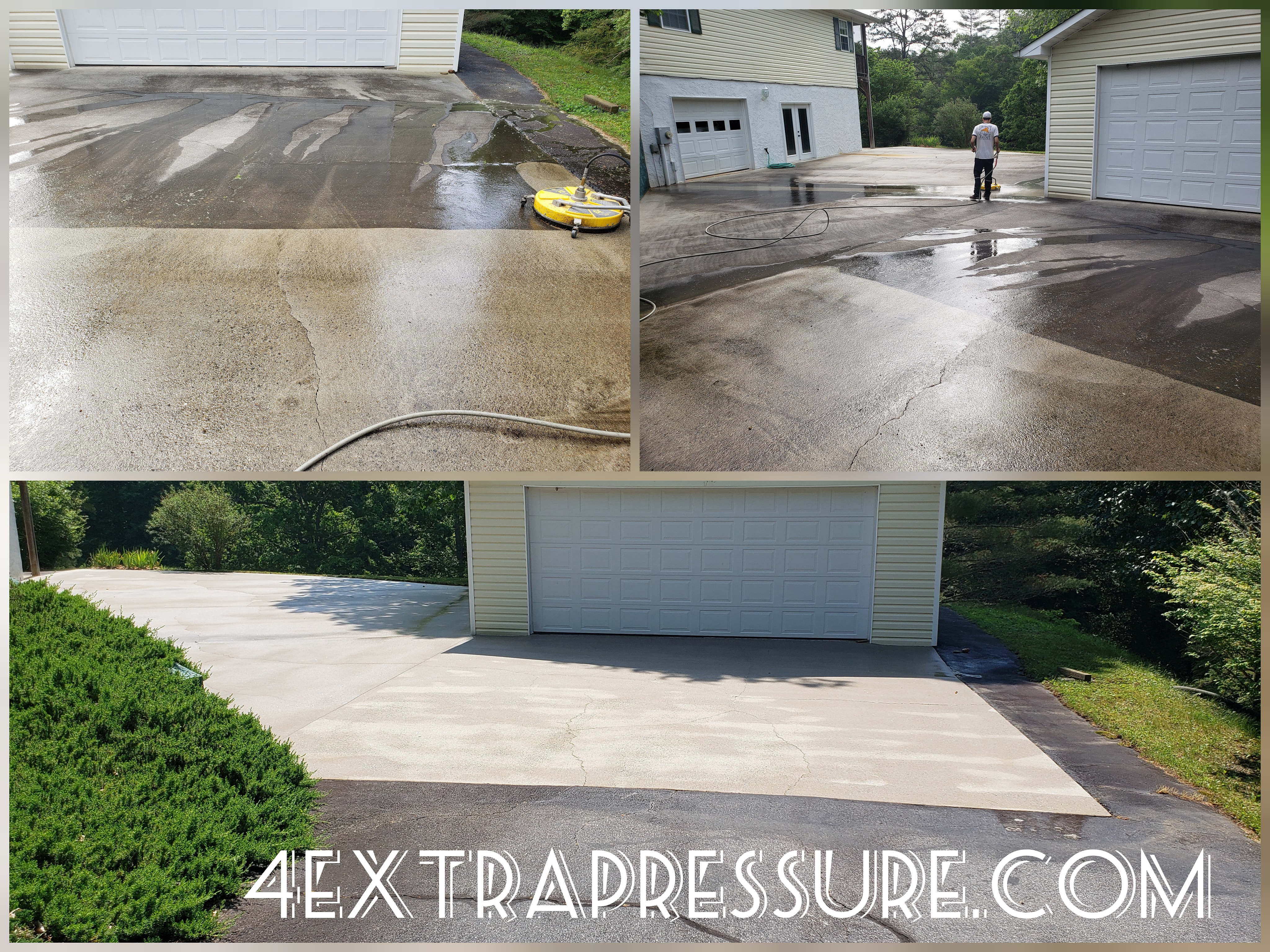 Before and after driveway pressure washing with website